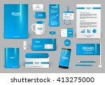blue corporate identity template | Shutterstock .eps vector #413275000