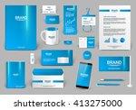 blue corporate identity template | Shutterstock .eps vector #413275000