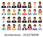 Group of working people, business men and business women avatar icons. Flat design people characters. | Shutterstock vector #413278498