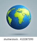 earth  world map. polygonal 3d... | Shutterstock .eps vector #413287390