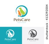 Stock vector pets care logo pet logo cat logo dog logo pets shop logo vector logo template 413292004