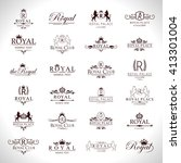 royal icons set isolated on... | Shutterstock .eps vector #413301004