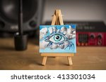 miniature surreal oil painting... | Shutterstock . vector #413301034