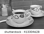 coffee for two  monochrome  | Shutterstock . vector #413304628
