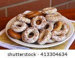 mountain of glassed bagels  | Shutterstock . vector #413304634
