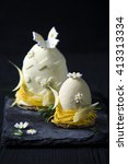 Small photo of Easter egg.Elegance french mousse cake with velour coating.