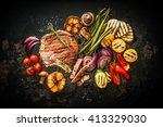beef t bone steak with grilled... | Shutterstock . vector #413329030