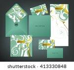 wedding print set. invitation... | Shutterstock .eps vector #413330848