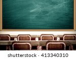 Empty School Classroom With...