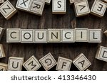 Small photo of the word of COUNCIL on building blocks concept