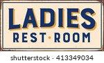 vintage metal sign   ladies... | Shutterstock .eps vector #413349034