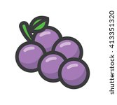 grapes illustration   flat icon | Shutterstock .eps vector #413351320