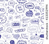 hand drawn seamless pattern of... | Shutterstock .eps vector #413352994
