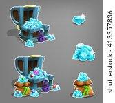 set of cartoon gems in chest... | Shutterstock .eps vector #413357836