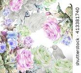 bird in a flower garland.... | Shutterstock . vector #413381740