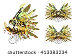 grunge parrot and butterfly.... | Shutterstock .eps vector #413383234
