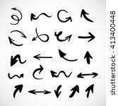 hand drawn arrows  vector set | Shutterstock .eps vector #413400448