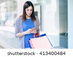 checking the messages and... | Shutterstock . vector #413400484
