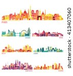 skyline detailed silhouette set ... | Shutterstock .eps vector #413407060