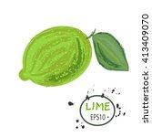 sketched fruit illustration of... | Shutterstock .eps vector #413409070