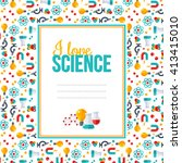 i love science  pattern with... | Shutterstock .eps vector #413415010
