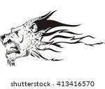 jaguar or cougar predator head... | Shutterstock .eps vector #413416570