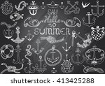 hand drawn chalkboard with... | Shutterstock .eps vector #413425288