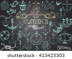 hand drawn chalkboard with... | Shutterstock .eps vector #413425303