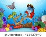 cartoon sea animals with... | Shutterstock . vector #413427940