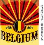 Belgium Vintage Old Poster With ...