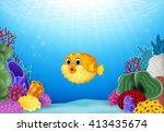 Cartoon Puffer Fish With Coral...