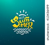 hello summer logo with abstract ... | Shutterstock .eps vector #413436499