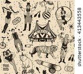 seamless circus pattern.vector... | Shutterstock .eps vector #413443558