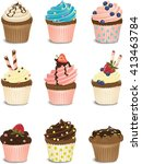 colorful isolated cupcake set | Shutterstock .eps vector #413463784