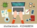 find tour online. top view... | Shutterstock .eps vector #413468854
