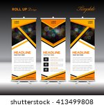 orange roll up banner template  ... | Shutterstock .eps vector #413499808