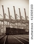 seattle  wa   aug 14  crane... | Shutterstock . vector #413505103