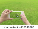 woman hand holding the phone... | Shutterstock . vector #413513788