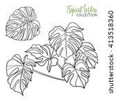 monstera. tropical plant.... | Shutterstock .eps vector #413518360
