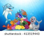 Cartoon Tropical Fish With...
