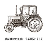 farm tractor sketch. hand drawn ... | Shutterstock .eps vector #413524846
