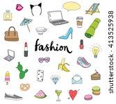 hand drawn fashion doodles set   Shutterstock .eps vector #413525938