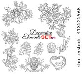 set of ornamental boho style... | Shutterstock .eps vector #413525968