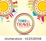 time to travel around the world ...   Shutterstock .eps vector #413528548