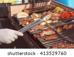roasted meat on the grill ... | Shutterstock . vector #413529760