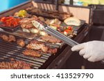 roasted meat on the grill ... | Shutterstock . vector #413529790