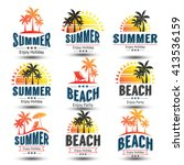summer holidays design elements ... | Shutterstock .eps vector #413536159