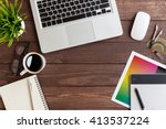 creative workspace on top view | Shutterstock . vector #413537224