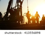 oil drilling exploration  the... | Shutterstock . vector #413556898