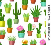 cactus and succulent seamless... | Shutterstock . vector #413578066